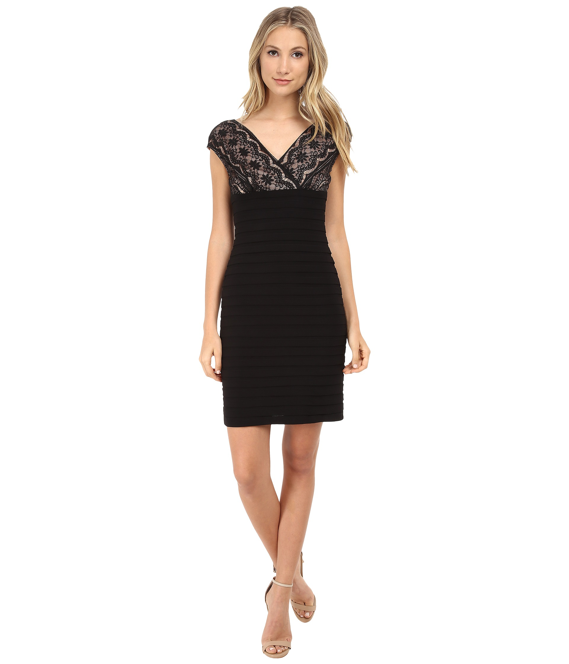 Adrianna Papell Lace Banded Dress - 6pm.com