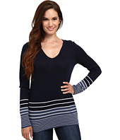 Pendleton - Petite V-Neck Stripe Pullover