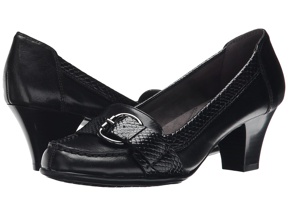 Aerosoles Arivederci Black Leather Womens Shoes