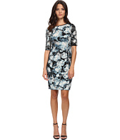 London Times - Elbow Sleeve Printed Ponte Sheath