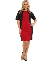London Times - Plus Size Elbow Sleeve Side Blocked Jacquard/Ponte Sheath