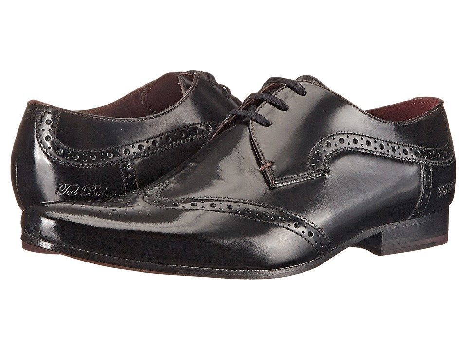 Ted Baker Hamniy Black Shine Mens Lace Up Wing Tip Shoes
