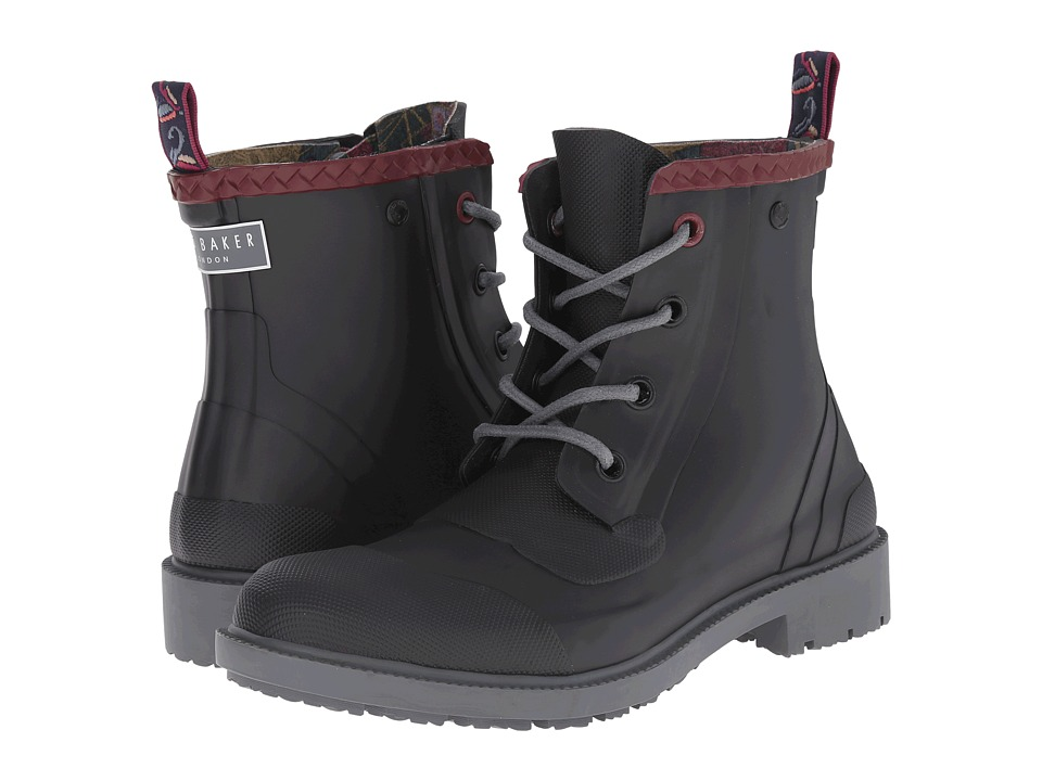 Ted Baker Epsalo Black Rubber Mens Lace up Boots