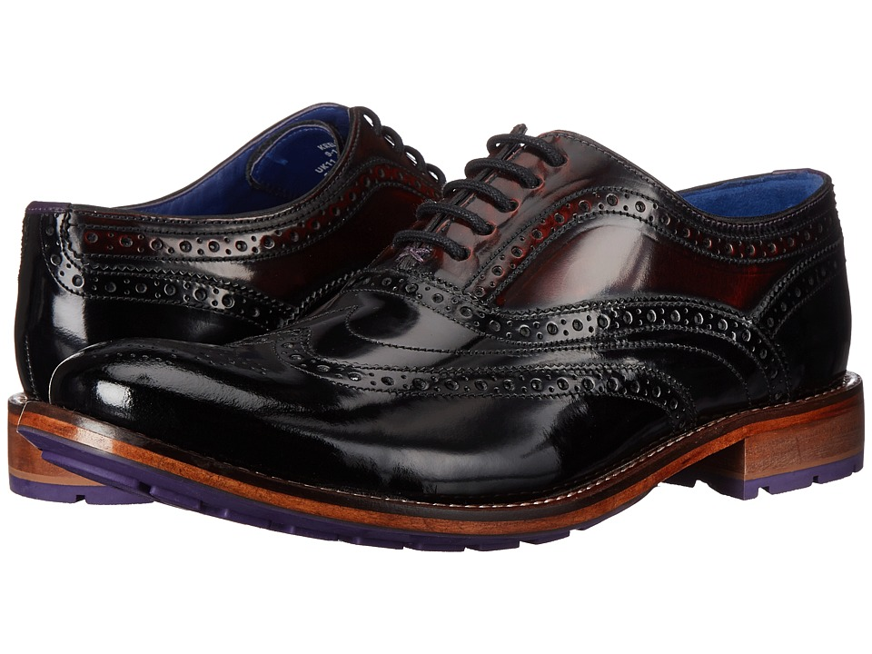 Ted Baker Krelly Black/Dark Red Shine Mens Lace Up Wing Tip Shoes