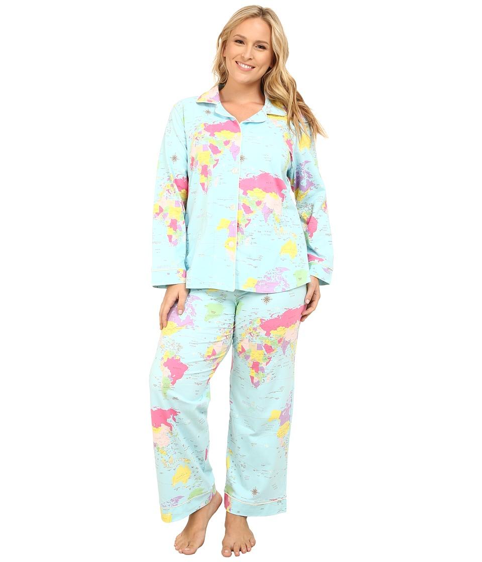 BedHead - Plus Size Long Sleeve Classic PJ Set (Aqua Around The World) Women's Pajama Sets plus size,  plus size fashion plus size appare