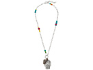 Gypsy SOULE Beaded and Chain Sugar Skull Pendant Necklace (Silver)