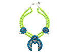 Gypsy SOULE - Squash Blossom Necklace (Neon Green/Turqiouse)