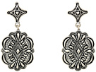 Gypsy SOULE Diamond Shaped Filagree Stud Concho Dangle Earrings (Silver)