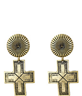 Gypsy SOULE - Ribbed Circle Dangle Cross Earrings
