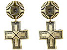 Gypsy SOULE Ribbed Circle Dangle Cross Earrings (Gold)