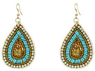 Gypsy SOULE Seed Beaded Teardrop Earrings (Turquoise/Gold/Clear)