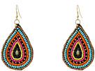 Gypsy SOULE Seed Beaded Teardrop Earrings (Pink/Turquoise/Gold)