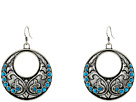 Gypsy SOULE Fillagree Circular Earrings w/ Turquoise Stones (Silver)
