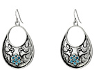 Gypsy SOULE Fillagree Tear Drop Earrings w/ Turquoise Stones (Silver)