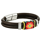Gypsy SOULE Southwest Seeded Bead Leather Bracelet (Black/Pink)