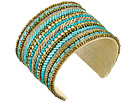 Gypsy SOULE Beaded and Crystal Striped Cuff Bracelet (Turquoise/Bronze)