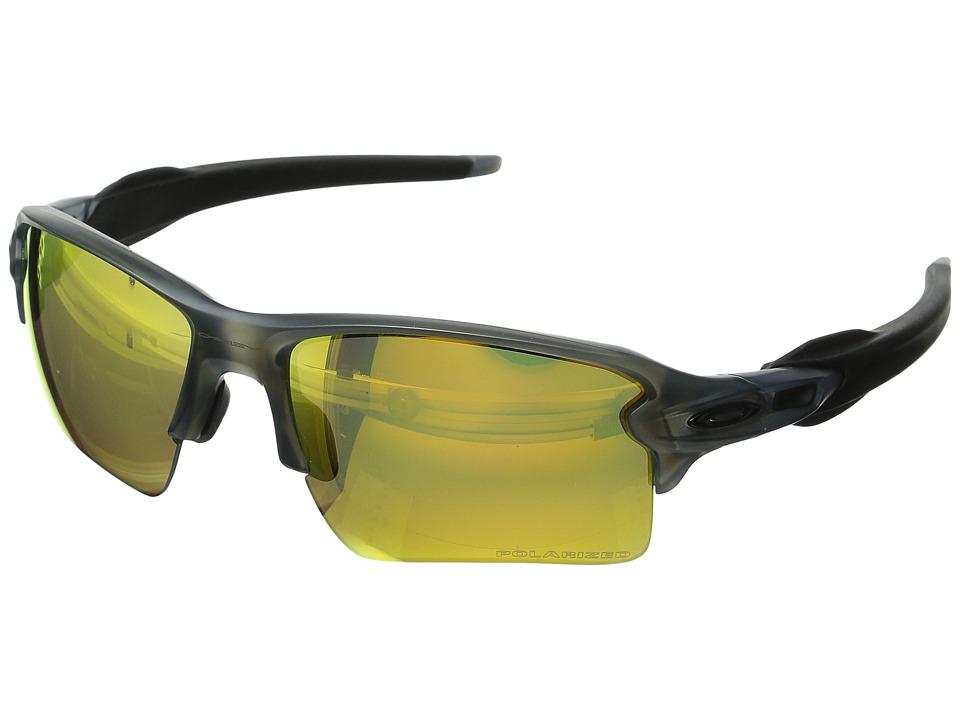 Oakley Flak 2.0 XL (Matte Grey Smoke w/Fire Iridium Polarized) Sport Sunglasses