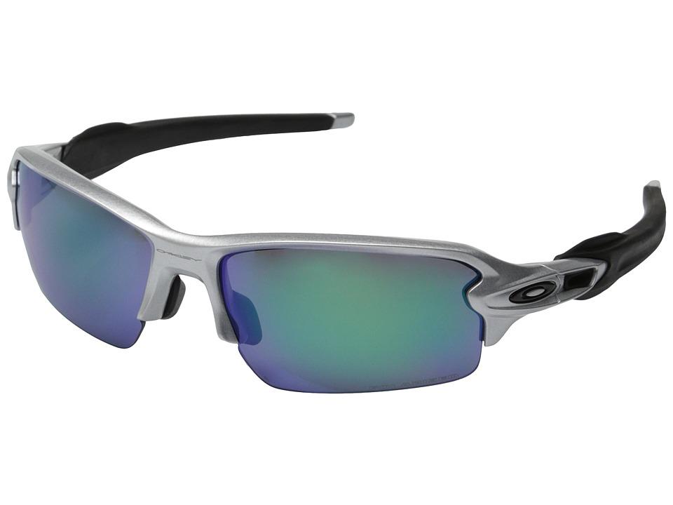 Oakley A Flak 2.0 Silver w/Jade Iridium Polarized Sport Sunglasses