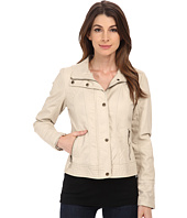 Jessica Simpson - Placket Front Centerfront Zip Faux Leather