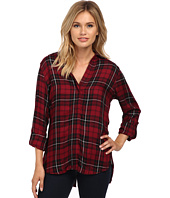 Sam Edelman - Cosette Red & Black Plaid Split Back Blouse with Zipper