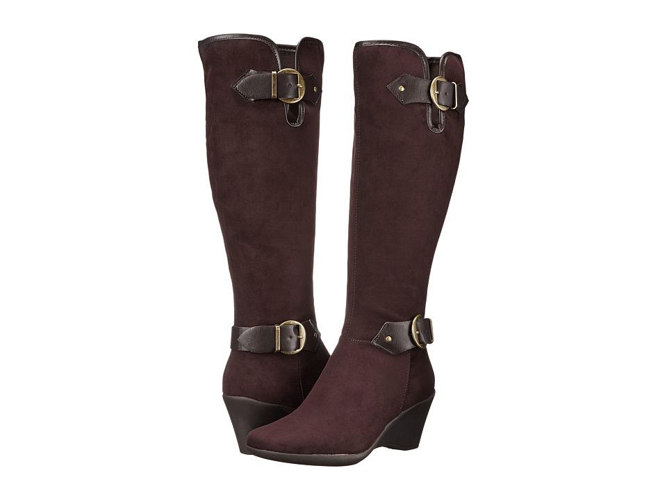 Aerosoles Wonderful Brown Fabric Womens Zip Boots
