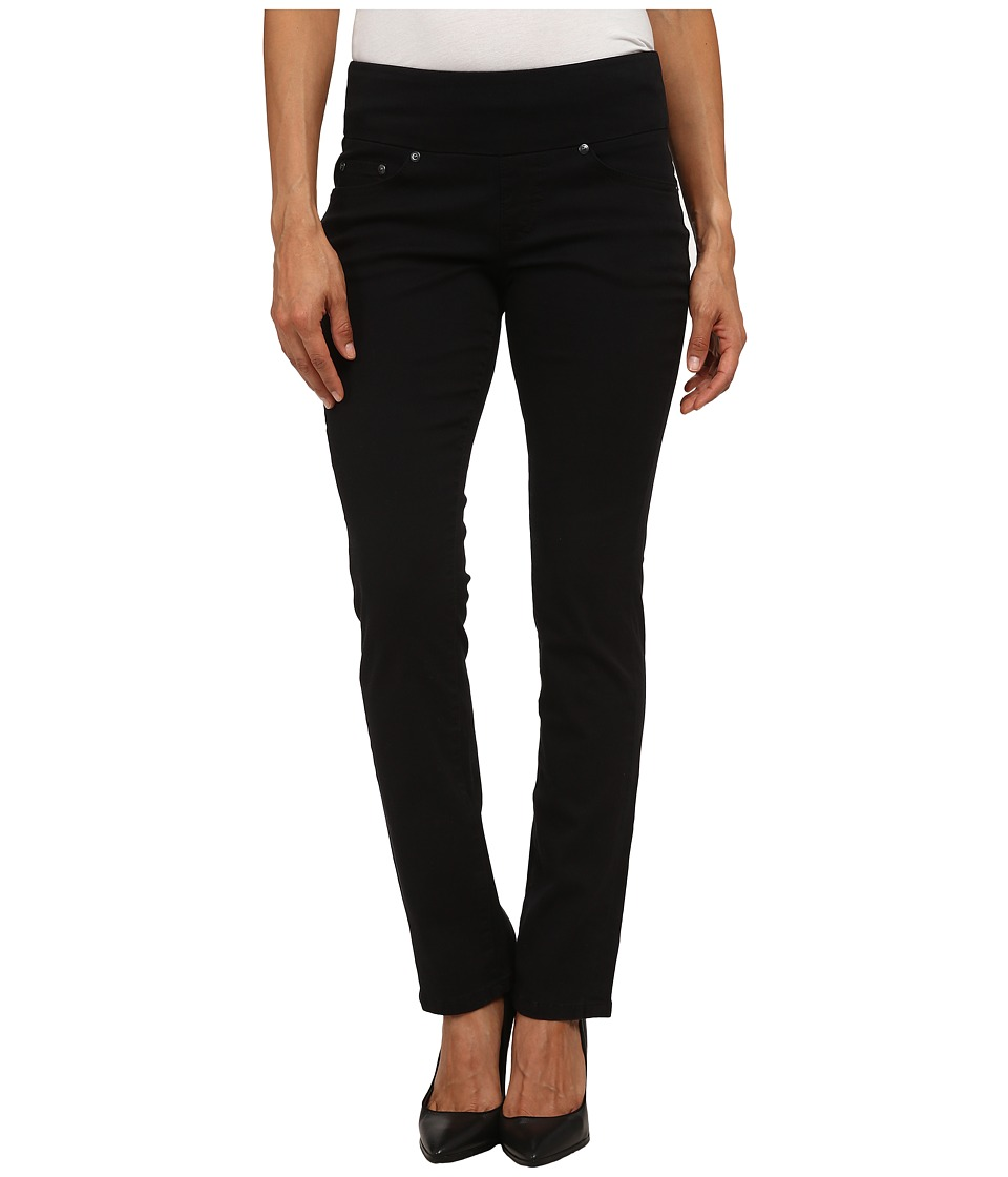 Jag Jeans Petite Petite Peri Pull On Straight Twill Pants Black Womens Casual Pants