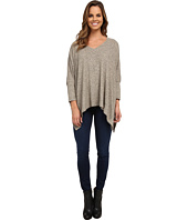 Nally & Millie - Brushed V-Neck Poncho w/ Side Slits