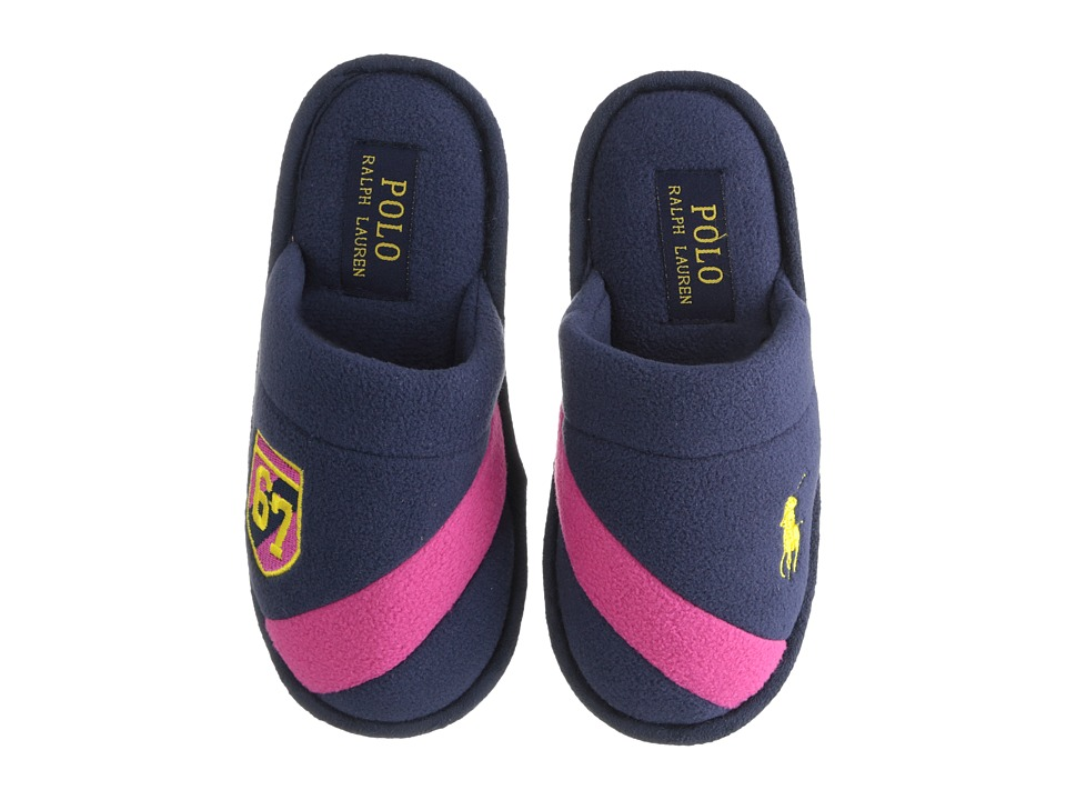 Polo Ralph Lauren Kids Rugby Crest Scuff Little Kid Navy Fleece/Fuchsia Kids Shoes