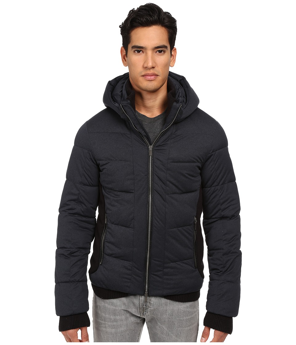 Armani Jeans Stretch Nylon Puffer Jacket with Built In Mittens Blue Melange Mens Coat