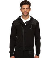 Armani Jeans - Poly/Cotton Fleece + Perforated Eco Leather Zip Track Top