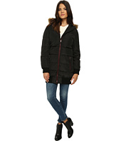 Levi's® - Faux Memory Nylon Long Hooded Bubble Puffer w/ Fur Trim