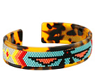 Gypsy SOULE Aztec Beaded Molded Cuff Bracelet -3/4in (Tortise Shell)