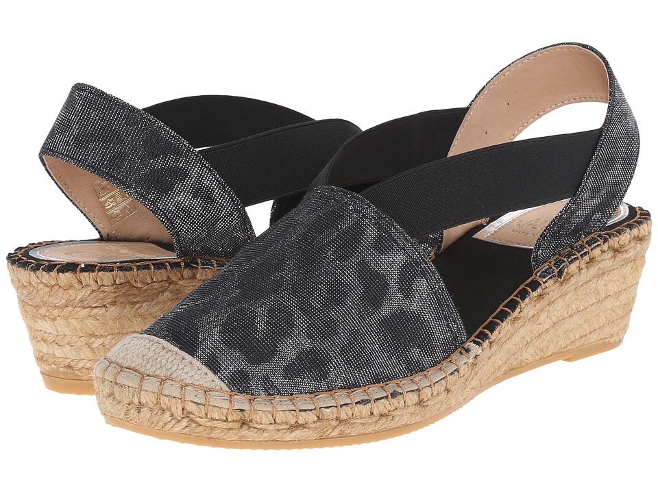 Vidorreta Luna Black Metallic Leopard Womens Slip on Shoes