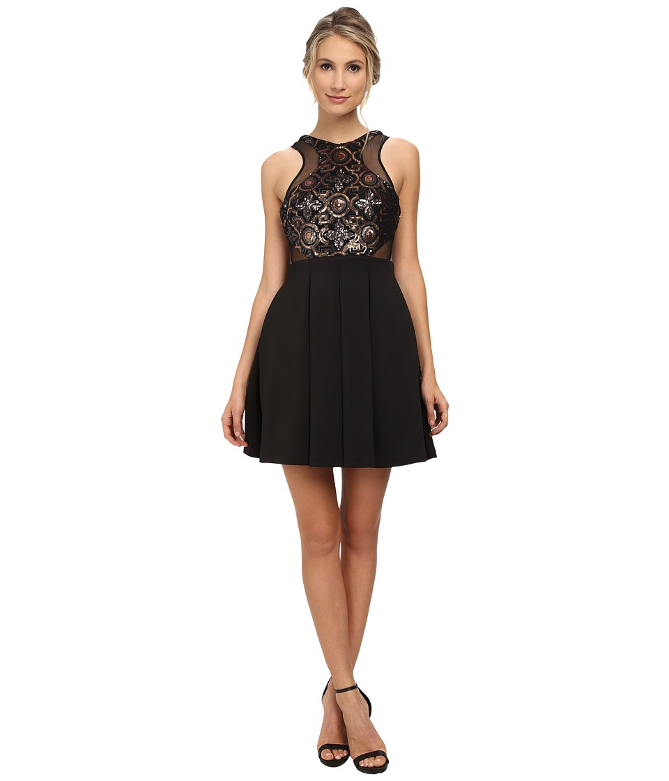 Faviana Beaded Top Neo Skirt 7660 Black/Gold Womens Dress