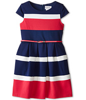Us Angels - Cap Sleeve Color Block w/ Belt & Full Skirt (Big Kids)