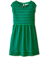 Us Angels - Striped Ottoman Cap Sleeve w/ Popover & Full Skirt (Big Kids)