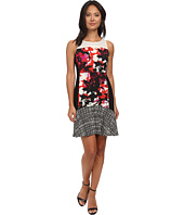 DKNYC - Lush Floral Print Printed Crepe De Chine Mixed Dress w/ Flounce Hem