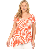 DKNY Jeans - Plus Size Mixed Stripe Side Tie Top