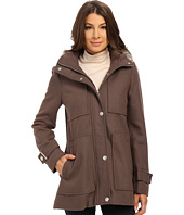 Kenneth Cole New York - Wool Babydoll Coat with Faux Fur Trim Hood