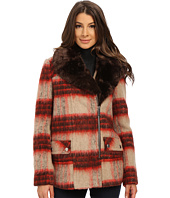Kenneth Cole New York - Plaid Wool Asymmetrical Zip Front Coat