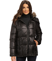 Kenneth Cole New York - Cheveron Quilt Down Jacket with Faux Fur Trim Hood