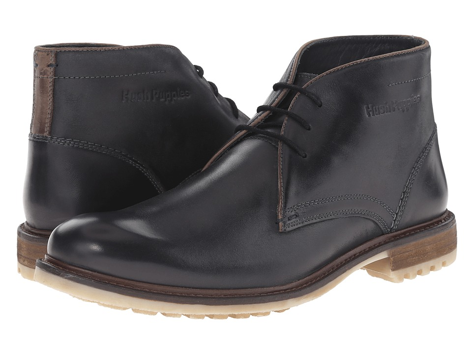 Hush Puppies Benson Rigby Black Leather Mens Lace up casual Shoes