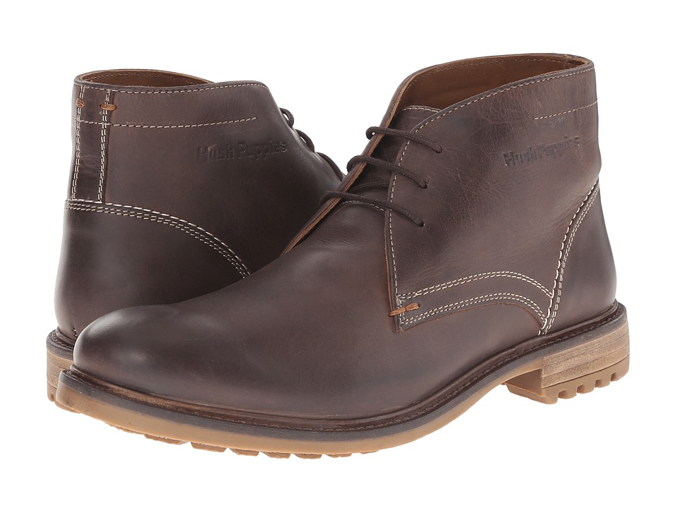 Hush Puppies Benson Rigby Dark Brown Leather Mens Lace up casual Shoes