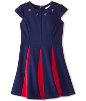 Us Angels - Ponte Cap Sleeve Fit & Flair w/ Contrast Pleat (Little Kids)