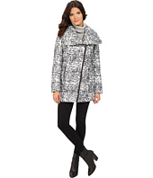 Kenneth Cole New York - Asymmetrical Sweater Print Packable Faux Down Coat