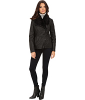 Kenneth Cole New York - Faux Leather Jacket with Faux Fur Collar