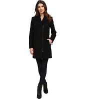 Kenneth Cole New York - Asymmetrical Zip Front Twill Wool Coat