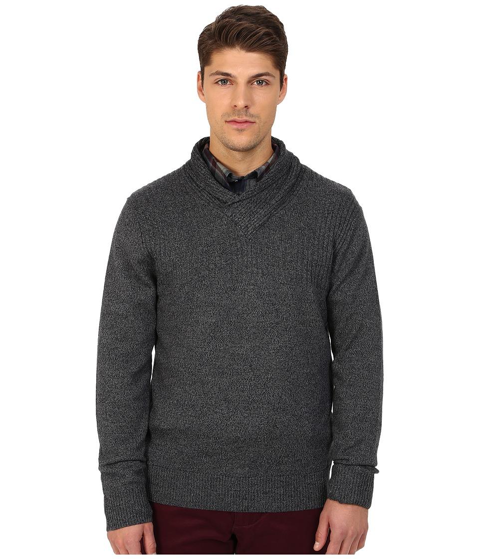 Rodd amp Gunn New Clarkes Cowl Neck Heathered Merino Sweater Graphite Mens Sweater