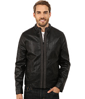 Kenneth Cole New York - Distressed Faux Leather Jersey Jacket