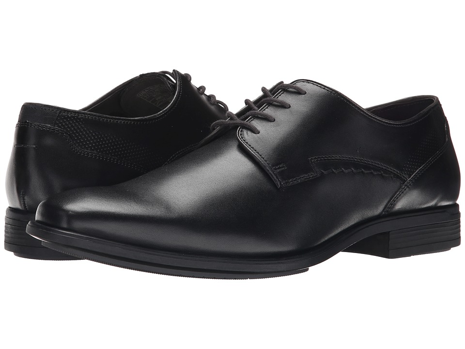 Hush Puppies Kane Maddow Black Leather Mens Lace Up Cap Toe Shoes